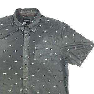 Marmot Gray Button Front Short Sleeve Shirt